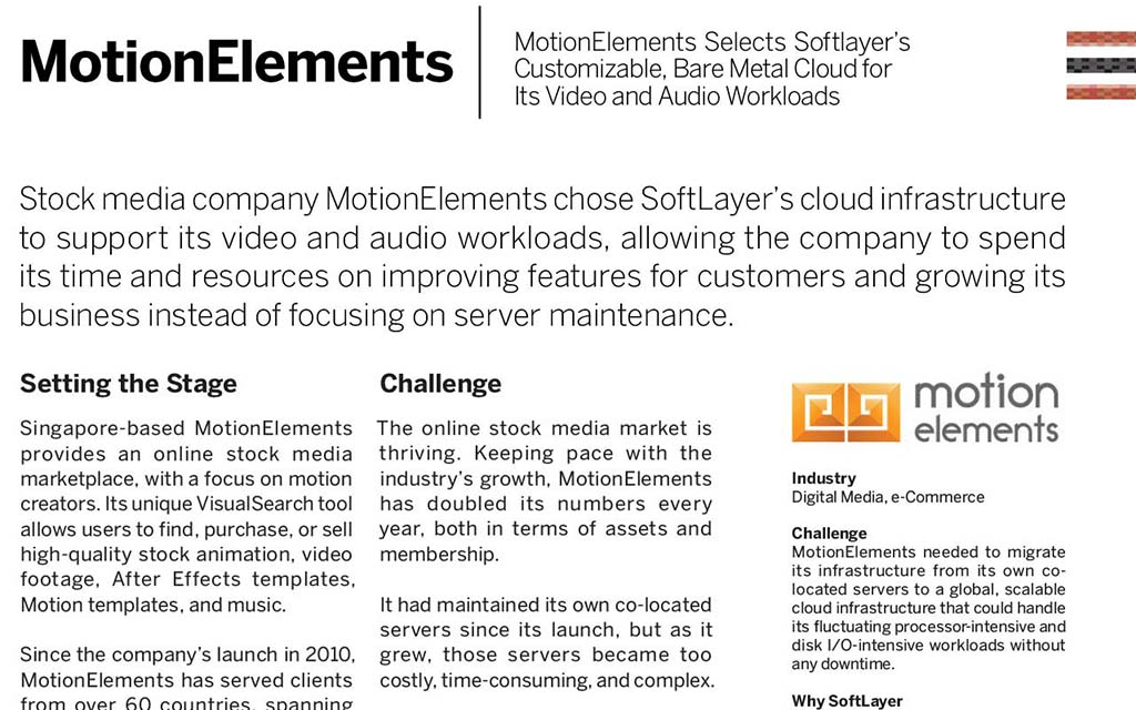 (English) SoftLayer Case Study: MotionElements selects SoftLayer's customizable cloud