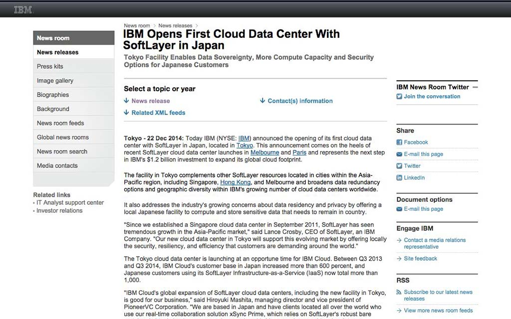IBM: IBM Opens First Cloud Data Center With SoftLayer in Japan