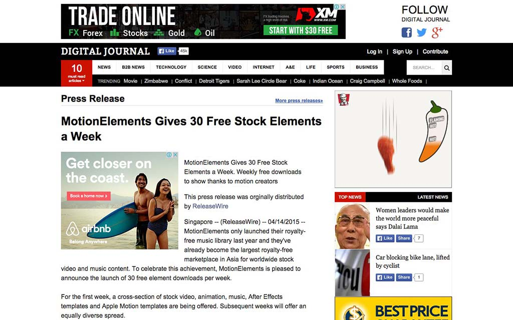 (English) Digital Journal: MotionElements Gives 30 Free Stock Elements a Week