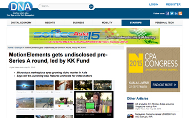 (English) Digital News Asia: MotionElements gets undisclosed pre-Series A round, led by KK Fund