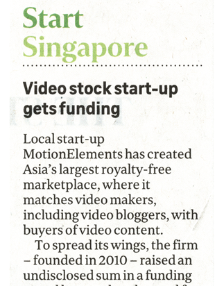 The Straits Times: Video stock start-up gets funding