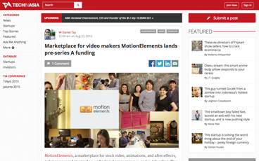 (English) Tech In Asia: Marketplace for video makers MotionElements lands pre-series A funding